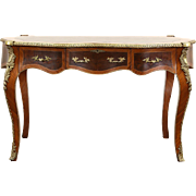 French Louis XIV Style Writing Desk, Banded Mahogany, Brass Mounts, Leather Top