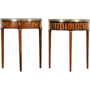 Pair of Rosewood Demilune Half Round 1915 Antique Italian Marble Top End Tables