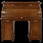 German Cylinder or Barrel Rolltop Antique 1910 Oak Desk, Original Finish & Pulls