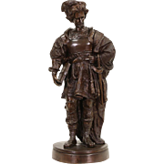 "Bronze Vintage Statue of Orlando or French Hero Roland, 44"" Tall Sculpture"