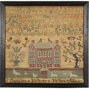 Cross Stitch 1820's Antique Needlework Sampler, Signed Elizabeth West, Age 6-10