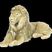 Bing & Groendahl of Denmark Signed Seated Porcelain Lion Vintage Sculpture
