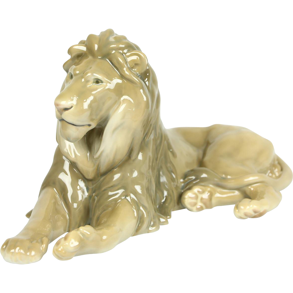 Bing & Groendahl of Denmark Signed Seated Porcelain Lion Vintage Sculpture