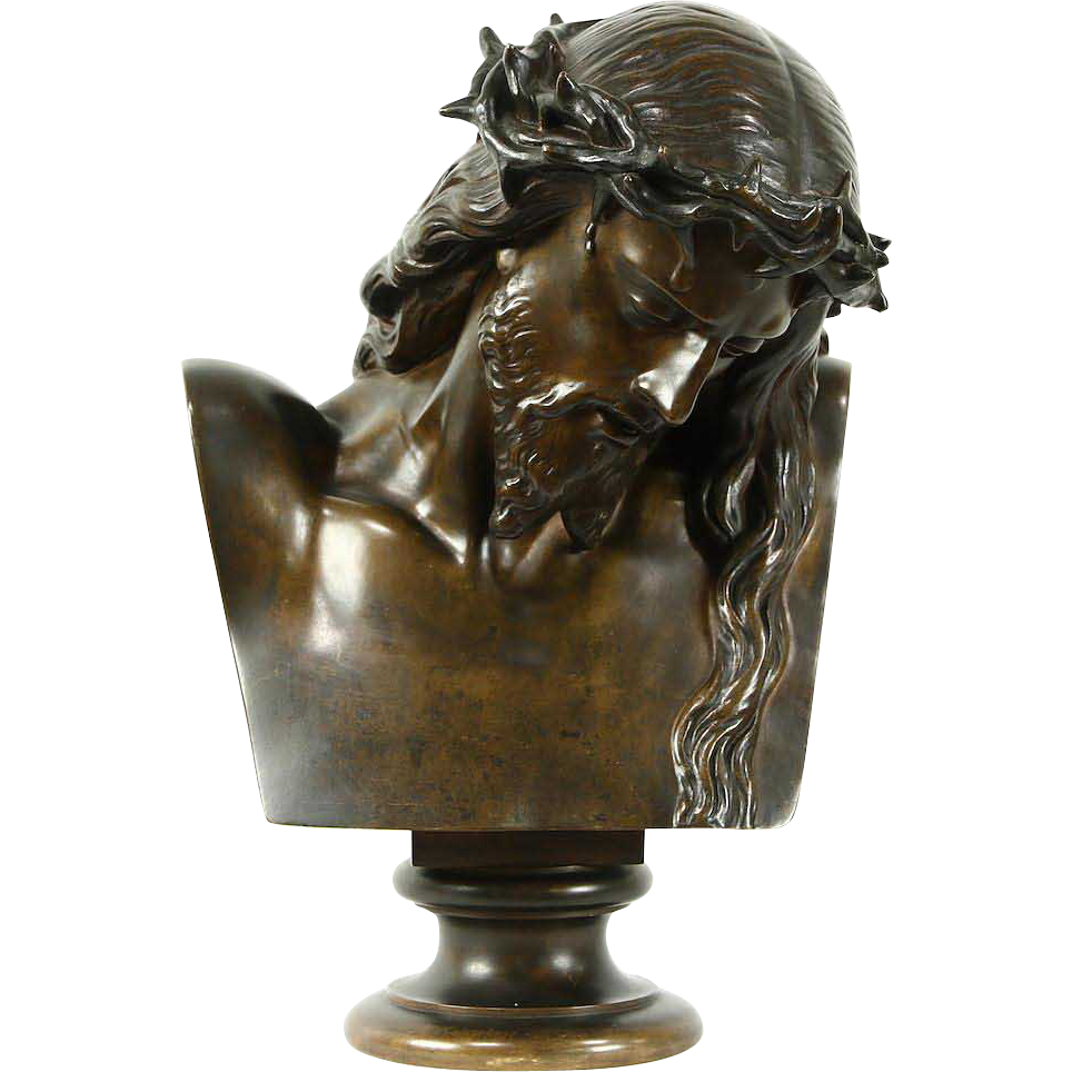 Jesus with a Crown of Thorns Mid 1800's French Bronze Sculpture Signed Clesinger