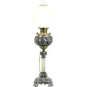 Victorian Angels Electrified Banquet Oil Lamp, Brass, Nickel & Onyx, Pat 1897
