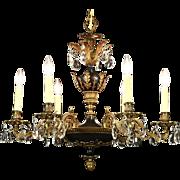 Regency Design 6 Candle Gold Plated & Black Vintage Chandelier
