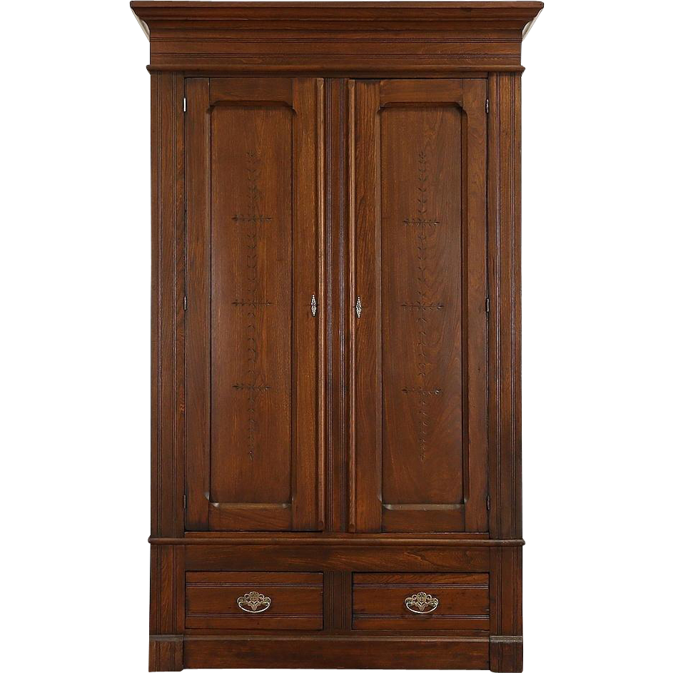 Victorian Eastlake Antique 1890 Armoire Wardrobe or Closet, Spoon or Chip Carved