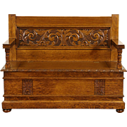 Carved Oak 1890's Antique Hall Bench, Lift Seat Storage