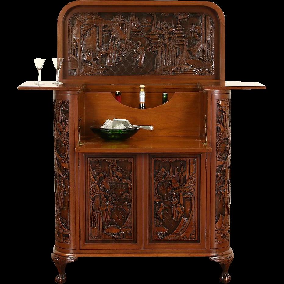 Chinese Hand Carved Teak Vintage Bar or Liquor Cabinet & Server