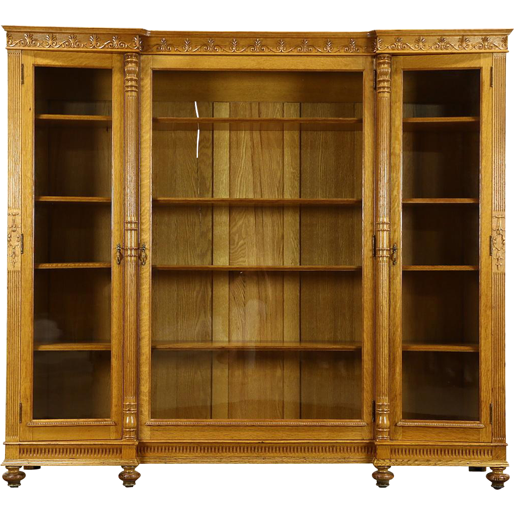 Triple 1890's Antique Carved Oak Library Bookcase, Wavy Glass Doors, Columns