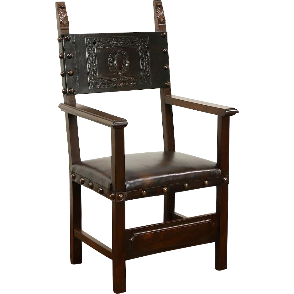 Italian Carved Walnut &  Tooled Leather 1890's Antique Hall or Host Chair, Arms