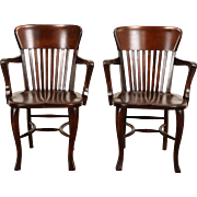 Pair 1910 Antique Banker, Office or Library Chairs with Arms