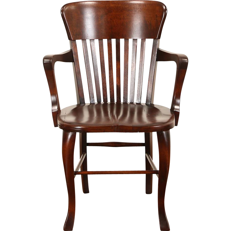 Banker, Office or Library Chair with Arms, 1910 Antique