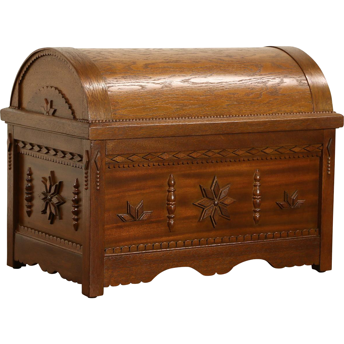 Scandinavian Folk Art Vintage Dome Top Chest or Small Trunk