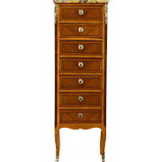 French 1920 Antique Semainier 7 Drawer Lingerie Chest, Marble Top