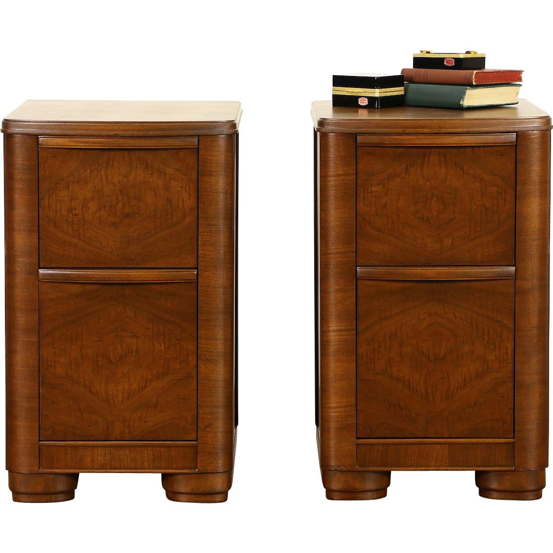 Pair of Art Deco 1940 Vintage Walnut & Burl Nightstands