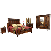 Italian Renaissance 1900's Antique King Size 4 Pc. Bedroom Set Marble Top Chests