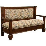 Oak 1900 Antique Hall Bench or Settee, New Upholstery