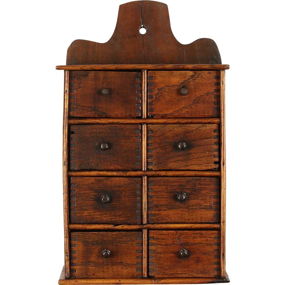 Hanging Oak 1890's Antique Spice Box Cabinet, 8 Drawers
