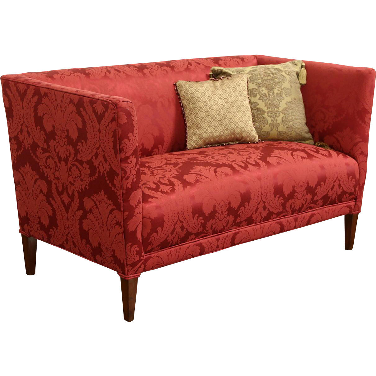 Scandinavian 1940's Vintage Loveseat or Settee, New Red Upholstery