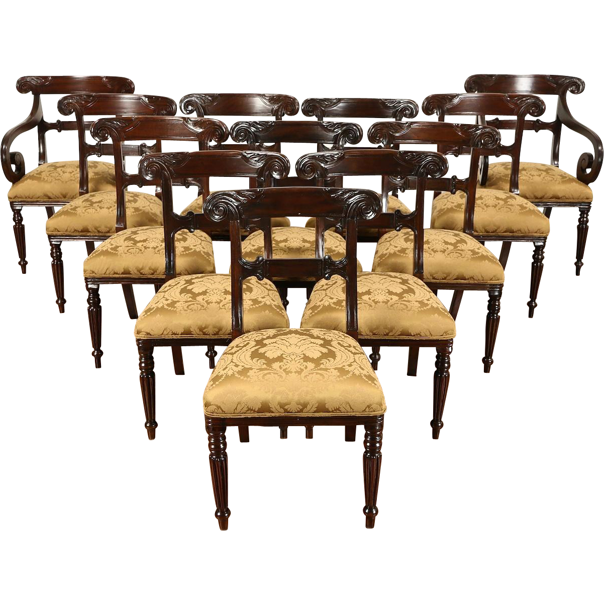 Set of 12  Carved Empire Style Vintage Dining Chairs, New Upholstery
