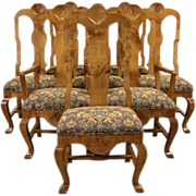 Set of 8 Swedish 1914 Antique Hunting Lodge Dining Chairs