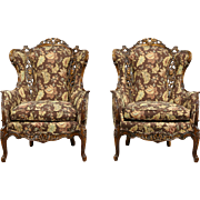 Pair Carved Lovebird & Angel 1940's Vintage Wing Chairs, New Upholstery