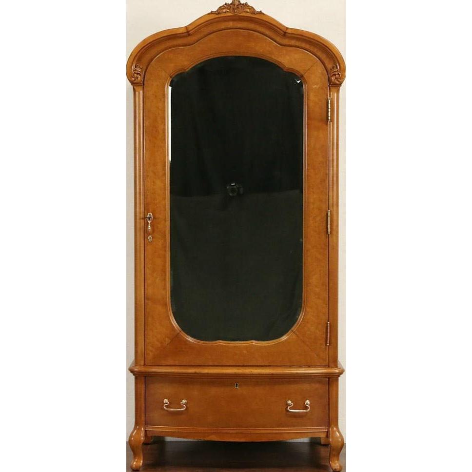 Curly Birdseye Maple 1910 Antique Armoire, Wardrobe or Closet, Signed Widdicomb