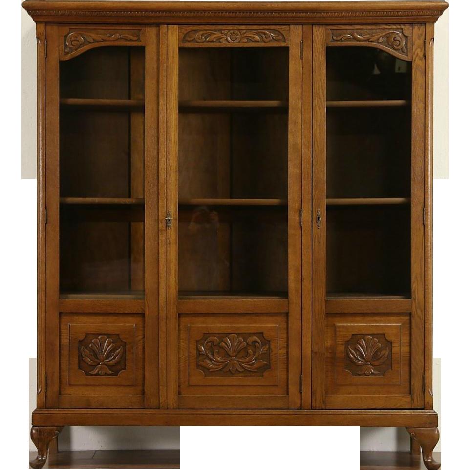 Carved Oak 1915 Antique Scandinavian 3 Door Bookcase, Adjustable Shelves