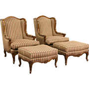 Hancock & Moore Signed Pair Wing Chairs & Ottomans, Custom Upholstered Set