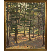 Forest Glen Original Scandinavian Oil Painting, Signed 1945