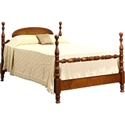 Curly Birdseye Maple 1925 Antique Full Size Poster Bed