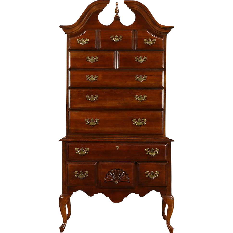 Cherry Vintage Traditional Tall Chest on Chest or Highboy, Signed American Drew