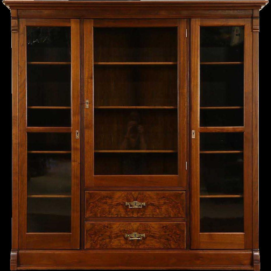 Victorian Eastlake 1885 Antique Walnut Triple Library Bookcase, Wavy Glass Doors