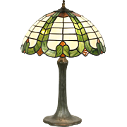 Handel Signed 1915 Lamp, Leaded Stained Glass Shade