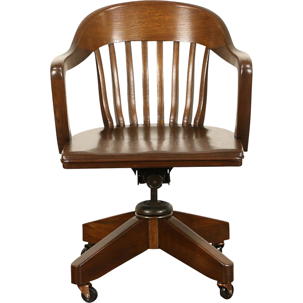 Oak Swivel Adjustable 1930's Vintage Desk Chair, Signed Blackwell St. Louis