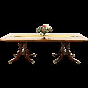 Baker Charleston Collection Signed Banded 2 Pedestal Dining Table, Leaf