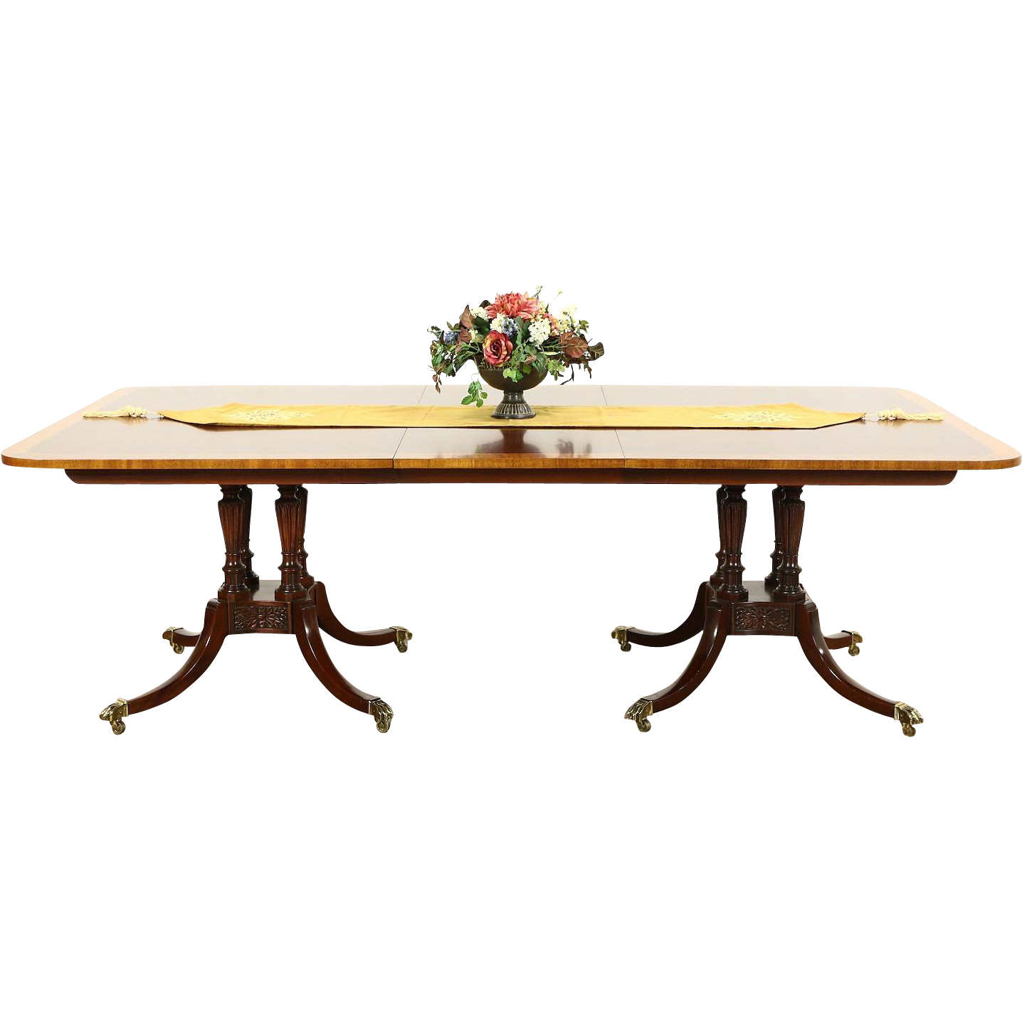 Baker Charleston Collection Signed Banded 2 Pedestal Dining Table, Leaf
