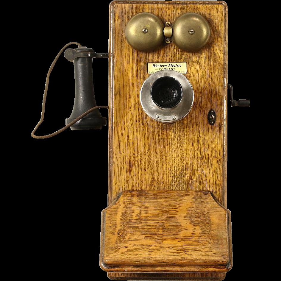 Oak Western Electric Signed Antique Wall Phone, Crank Generator, Pat. 1913