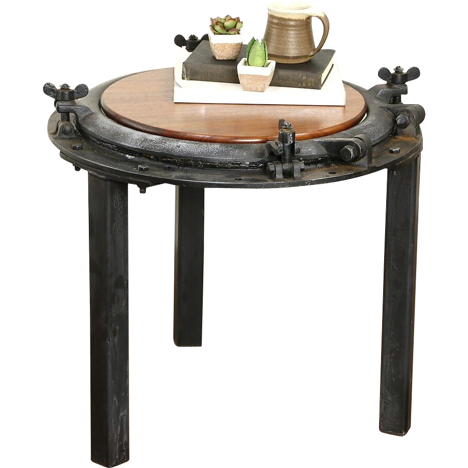 Ship Salvage Porthole Mounted as Chairside or Coffee Table
