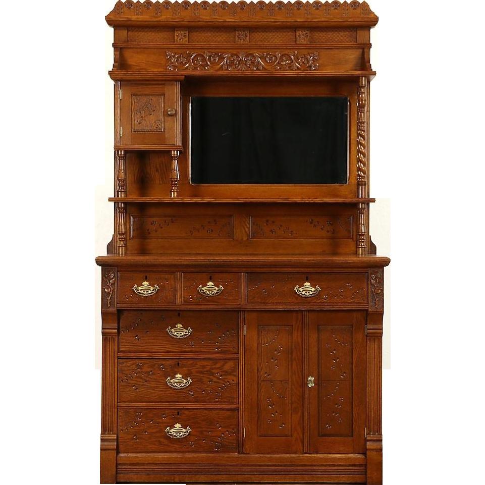 Victorian Eastlake Oak 1875 Antique Sideboard, Server or Buffet, Gallery