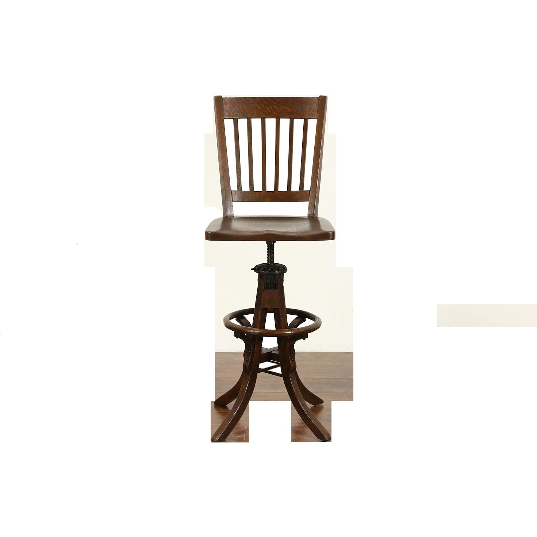 Craftsman Antique Oak Drafting or Architect Swivel Adjustable Stool, Pat. 1914