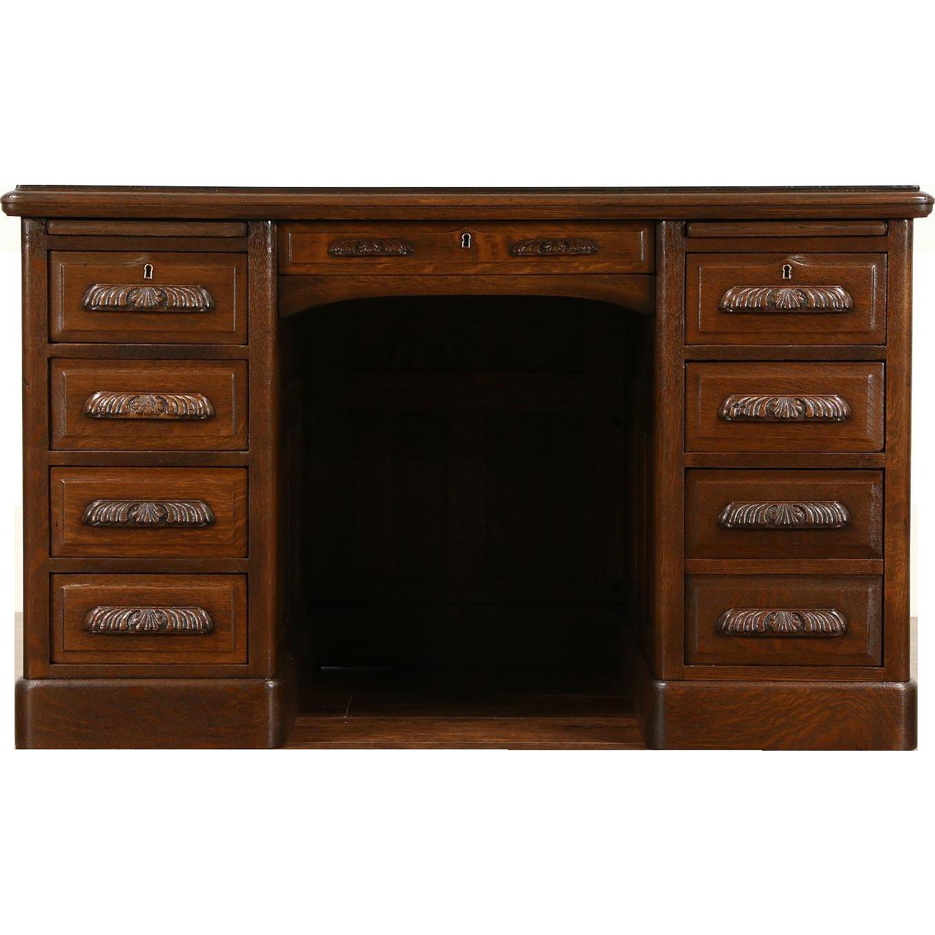 Oak Quarter Sawn 1900 Antique Desk, Carved Pulls, Raised Panels