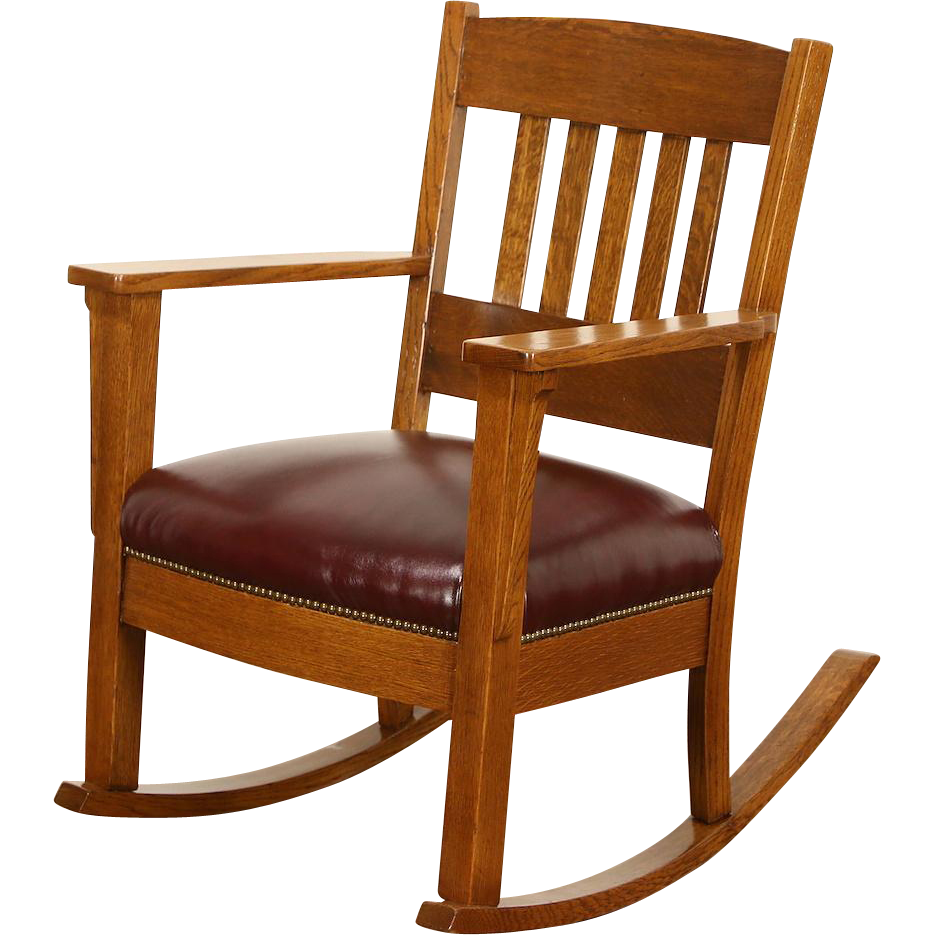 Rocker Arts & Crafts Mission Oak Antique 1905 Rocking Chair, New Leather