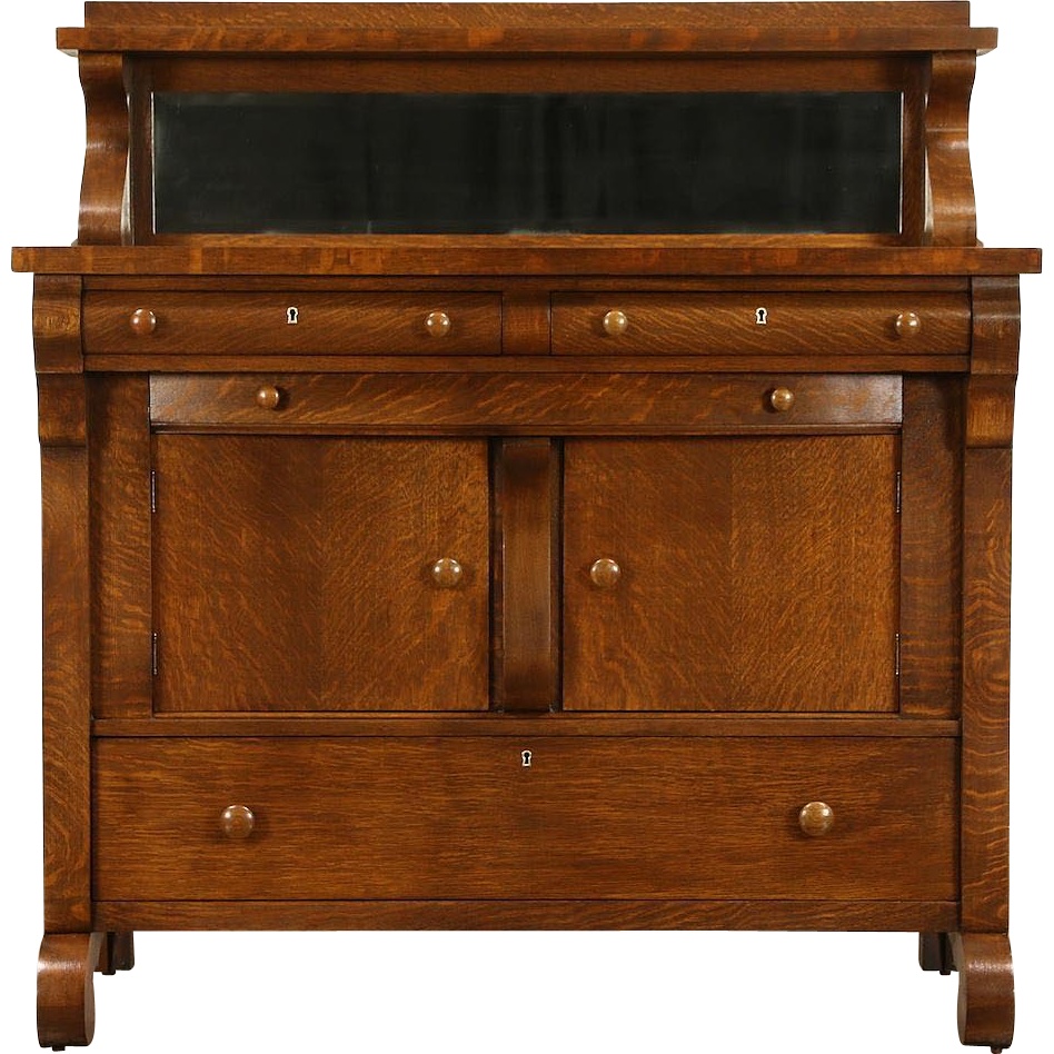 Oak 1900 Antique Empire Sideboard or Buffet, Beveled Mirror Gallery
