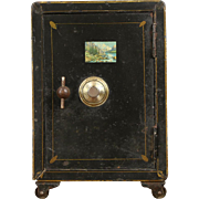 Iron Combination 1900 Antique Small Safe, Original Painting, Signed Vulcan