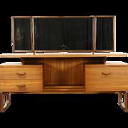 Mid Century Modern 1960's Vintage Teak Vanity Dressing Table, Triple Mirrors