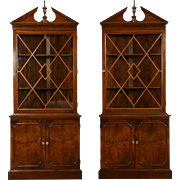 Pair Traditional 1940's Vintage Corner Cabinets, Glass Doors & Grills