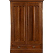 Oak 1885 Antique Armoire, Wardrobe or Closet, Arched Panel Doors