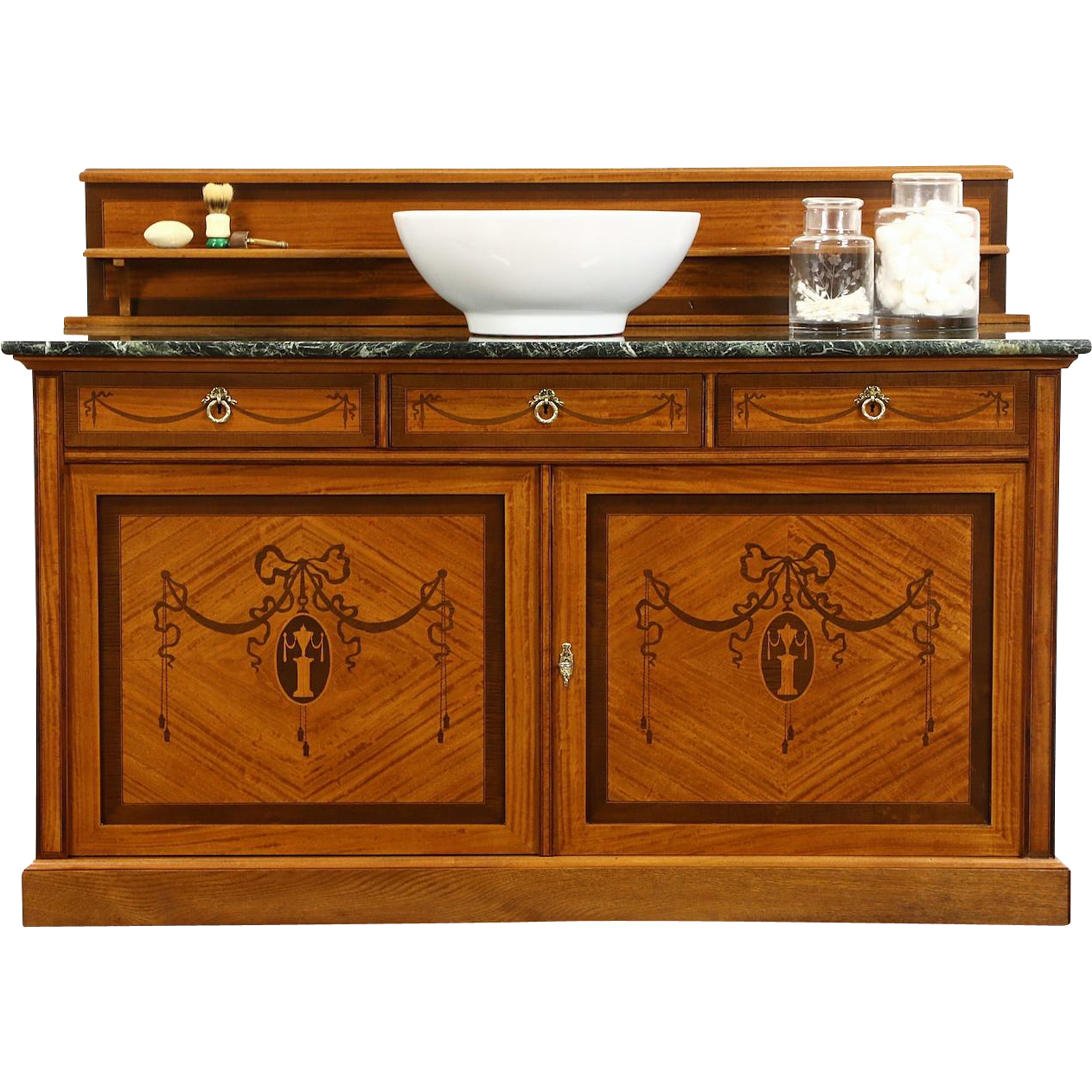 French 1915 Antique Marble Top Sideboard, Server, Bar or Vessel Sink Vanity